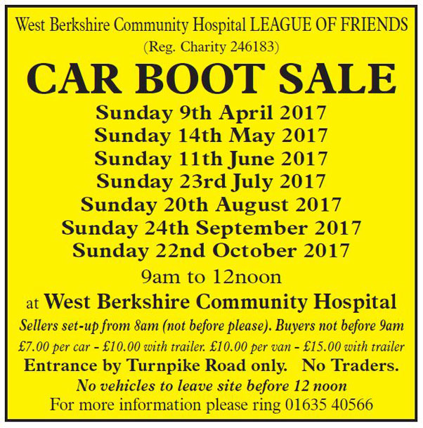 West Berkshire Community Hospital League of Friends - Car Boot Sales 2017