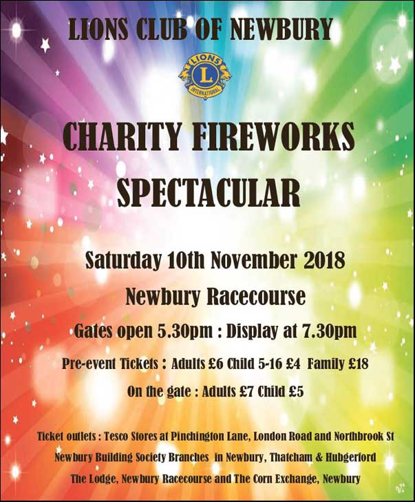Lions Club of Newbury - Charity Fireworks Spectacular - Saturday 10th November 2018